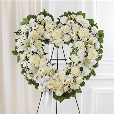 1-800-FLOWERS® ALWAYS REMEMBER™ FLORAL HEART TRIBUTE- WHITE